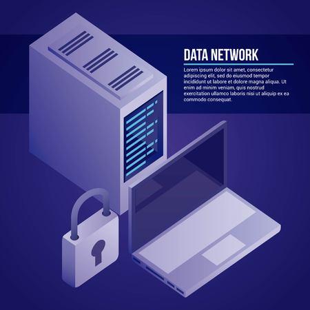 data network computer tower base padlock information vector illustration