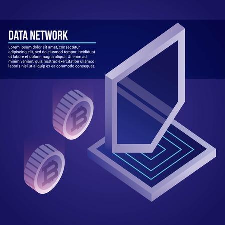 data network shield protection information vector illustration Illustration