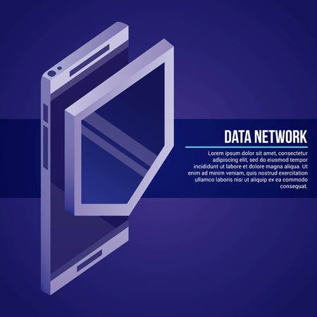 data network smartphone shield safe vector illustration Illustration