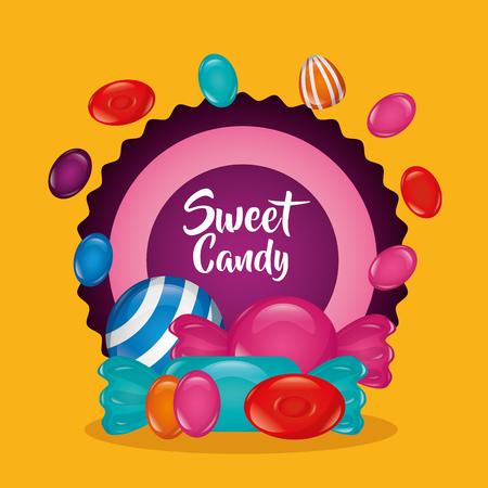 sweet candy sticker sign alminds minst bananas vector illustration Illustration