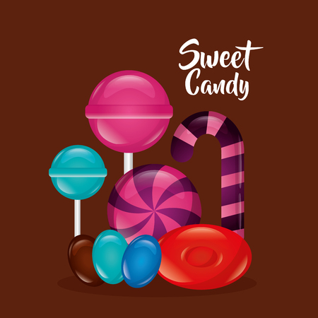 sweet candy bomboms candy cane alminds vector illustration Illustration