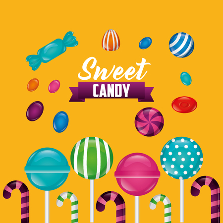 sweet candy ribbon sign bombom candy canes bananas vector illustration