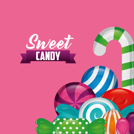 sweet candy ribbon sign bananas alminds mints vector illustration Illustration