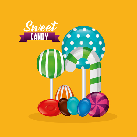 sweet candy ribbon sign watermelon bombom alminds bananas vector illustration
