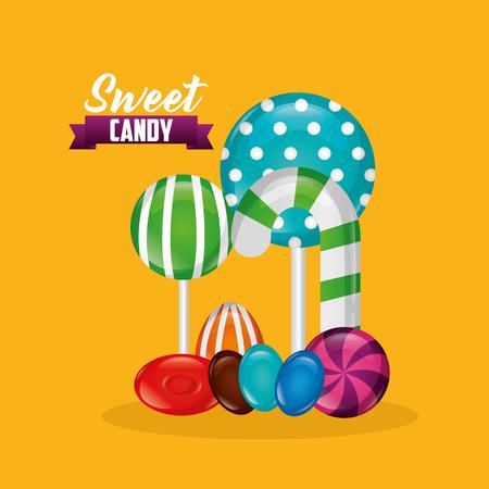 sweet candy ribbon sign watermelon bombom alminds bananas vector illustration