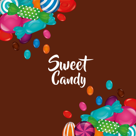sweet candy alminds flavors bombom bananas vector illustration