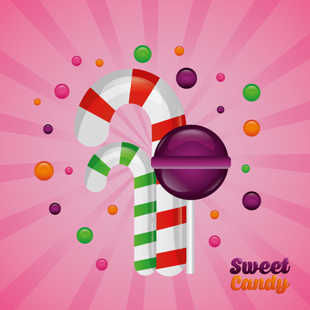 sweet candy watermelon cane alminds flavors vector illustration