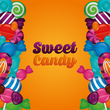 sweet candy sign bananas alminds mints flavors vector illustration
