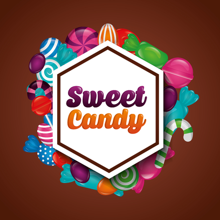 sweet candy figure sticker sign bananas alminds watermelon canes vector illustration