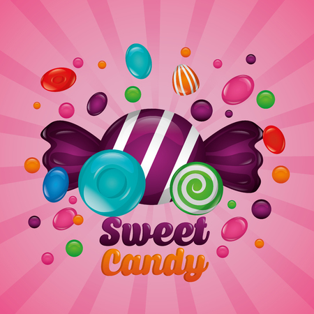 sweet candy flavors bananas alminds mints vector illustration