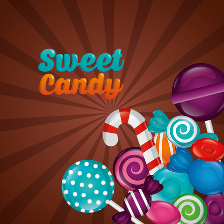 sweet candy mint bombom cane flavors alminds bananas vector illustration