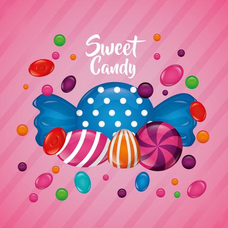 sweet candy mint banana alminds flavors vector illustration Illustration