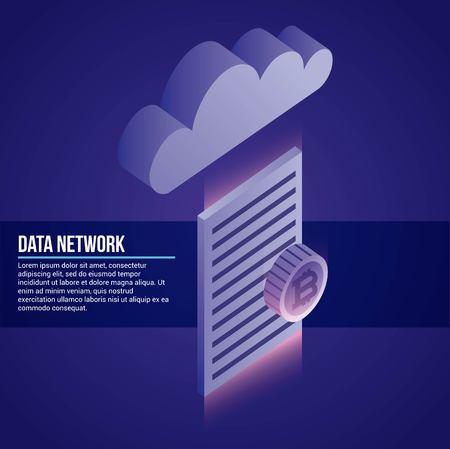 Ilustración de vector de protección de seguridad de documento de nube de red de datos