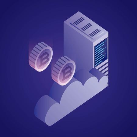 Ilustración de vector de información de seguridad de torre de nube de red de datos