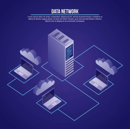 Computadoras de conexión de torre de red de datos documentos base ilustración vectorial Ilustración de vector