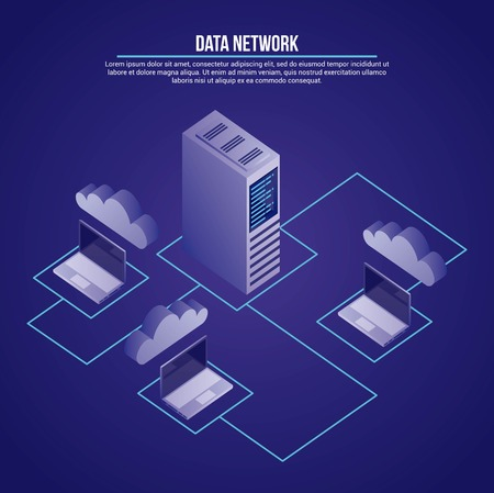 data network tower connection computers base documents vector illustration
