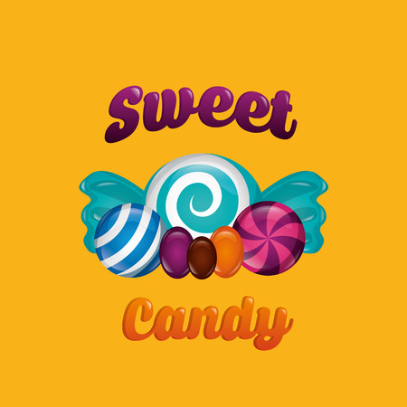 sweet candy mint alminds sign color vector illustration