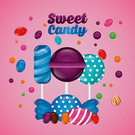 sweet candy mint bombom alminds flavors colors vector illustration Ilustração