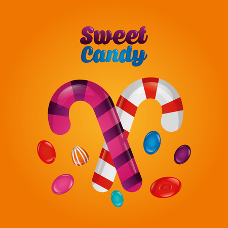 sweet candy alminds flavors candy canes vector illustration Illustration