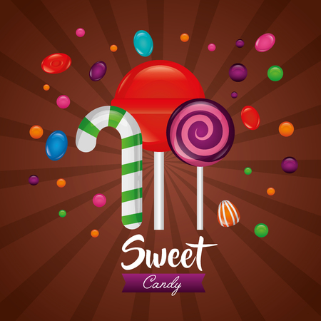 sweet candy flavors alminds watermelon cane bombom vector illustration Illustration