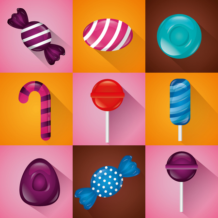 sweet candy banners bannas flavors vector illustration