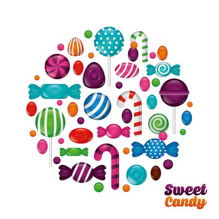 sweet candy circle bananas mints alminds bombom vector illustration