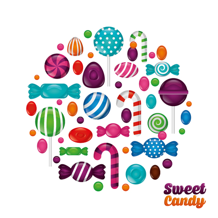 sweet candy circle bananas mints alminds bombom vector illustration