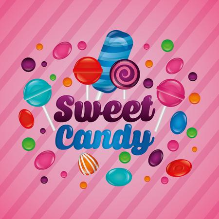 sweet candy mint bombom bananas flavors vector illustration Ilustração