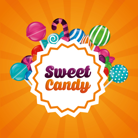 sweet candy sticker sign colors bananas bombom alminds flavors vector illustration