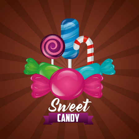 sweet candy mint bananas flavors vector illustration