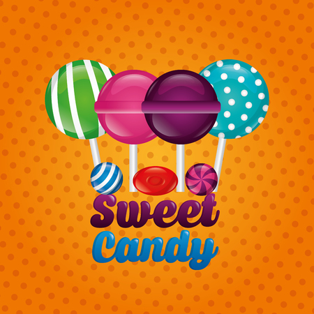 sweet candy flavors bombom alminds vector illustration
