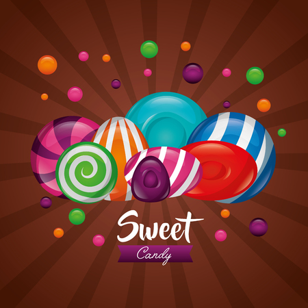 sweet candy colors alminds mint bananas vector illustration