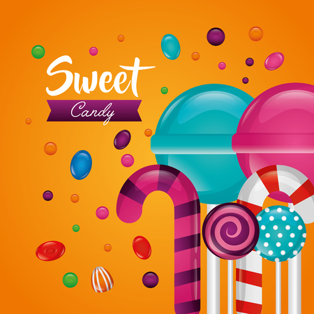 sweet candy bombom flavors alminds bananas vector illustration