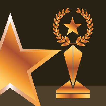 movie awards star prize win vector illustration