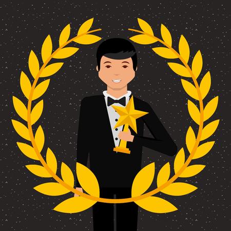 movie awards man holding prize star win vector illustration