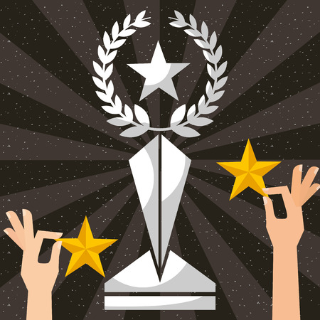 movie awards hands holding stars prize vector illustration