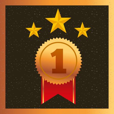 movie awards ribbon ensign star vector illustration