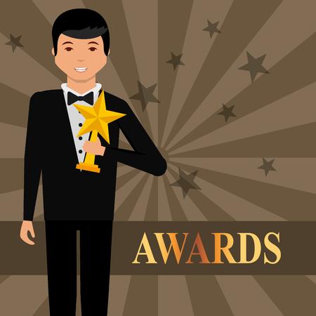 movie awards man holding prize star vector illustration