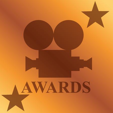 movie awards camera film stars degrade backgroud vector illustration Stock Vector - 107136535