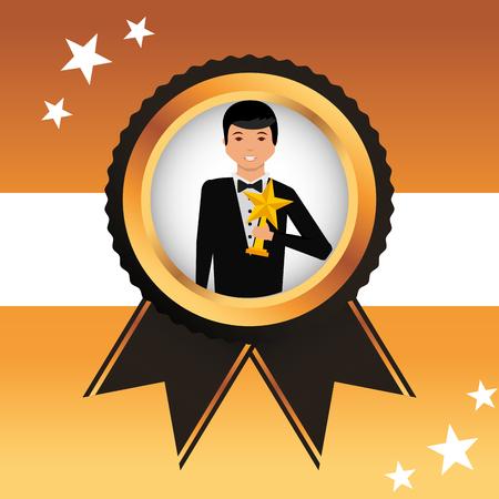 movie awards ensign man holding prize star vector illustration Reklamní fotografie - 111614369