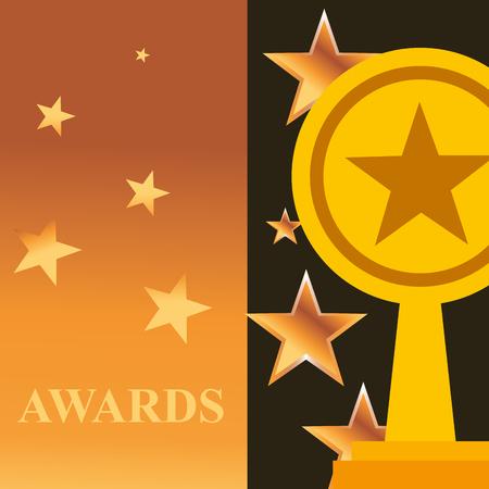 movie awards banner stars sign prize win vector illustration