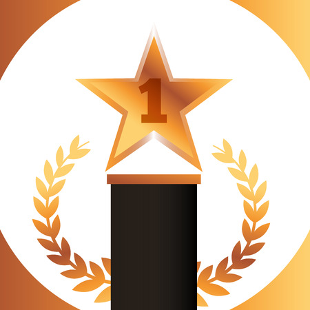 movie awards star number one prize winner vector illustration