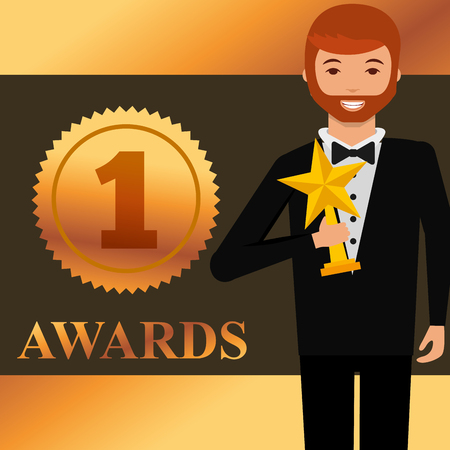 movie awards currency number one man holding star prize vector illustration