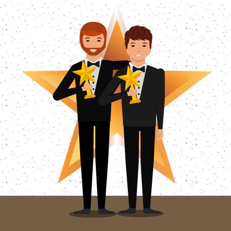 movie awards winner holding star prize smiling mens vector illustration