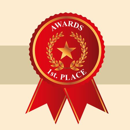 Film awards ruban rouge première place star prize vector illustration