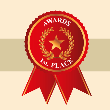 movie awards red ribbon first place star prize vector illustration