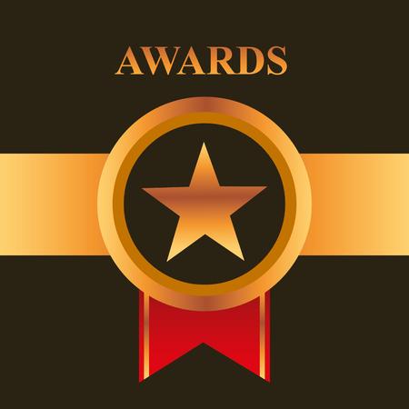 movie awards ribbon circle star vector illustration
