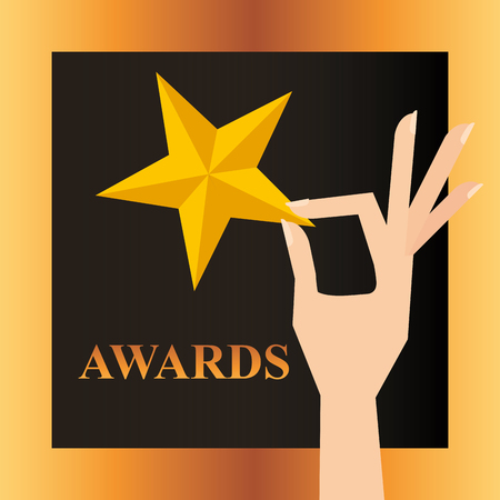 movie awards hand holding star sign frame vector illustration