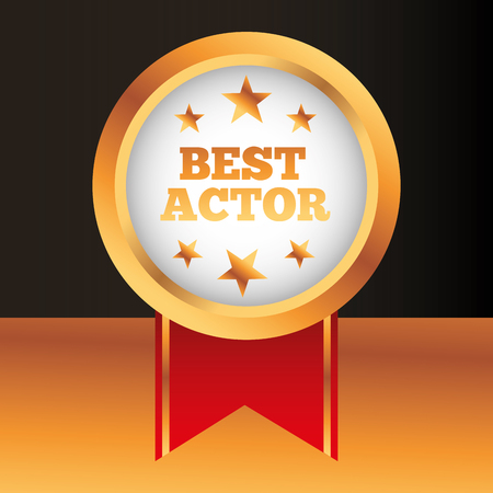 movie awards best actor ensign ribbon vector illustration