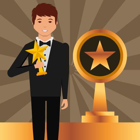 Film awards man holding star Prize winner vector illustration